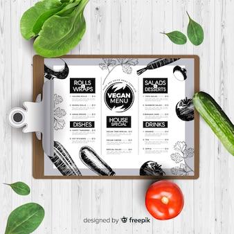 Modello di menu vegano disegnato a mano