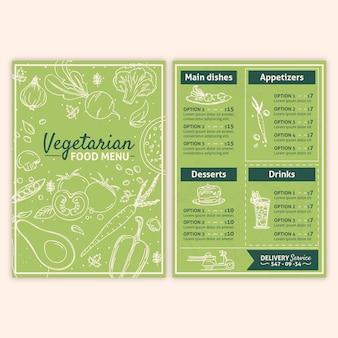 Modello di menu vegetariani