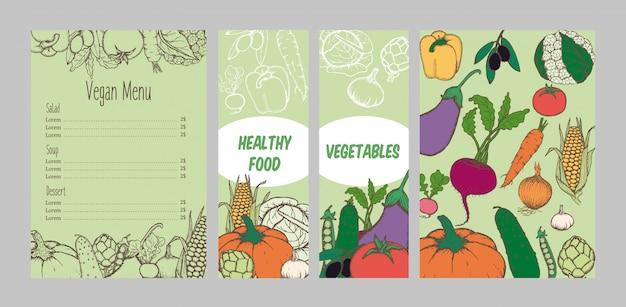 Modello di menu vegetariano colorato