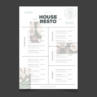 Modello di menu vintage ristorante casa