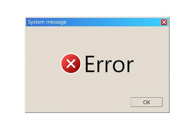 Modello di messaggio del sistema operativo, finestra di errore.