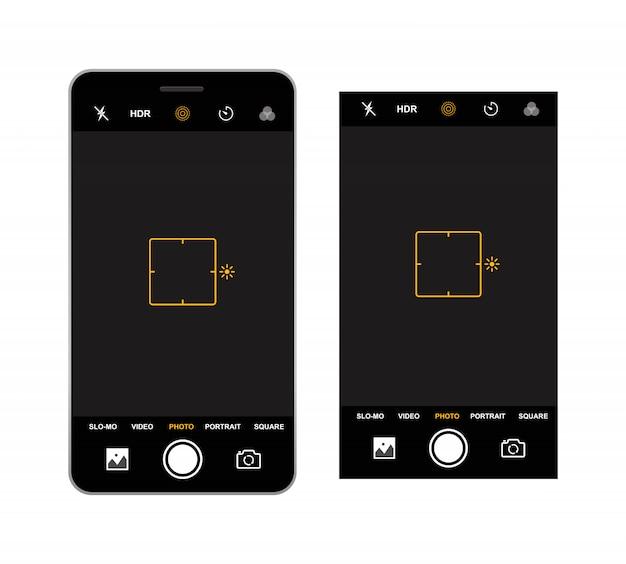 Modello di mirino della fotocamera dello smartphone. registrazione della videocamera