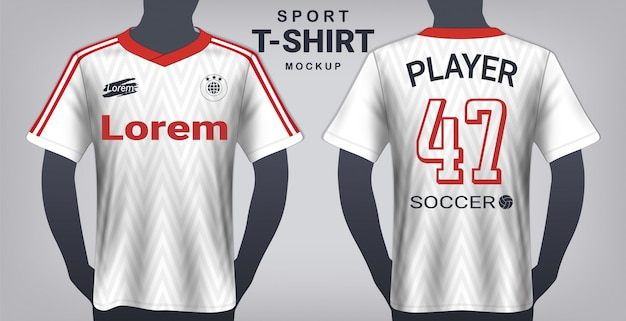 Modello di mockup di maglia da calcio e sport t-shirt.
