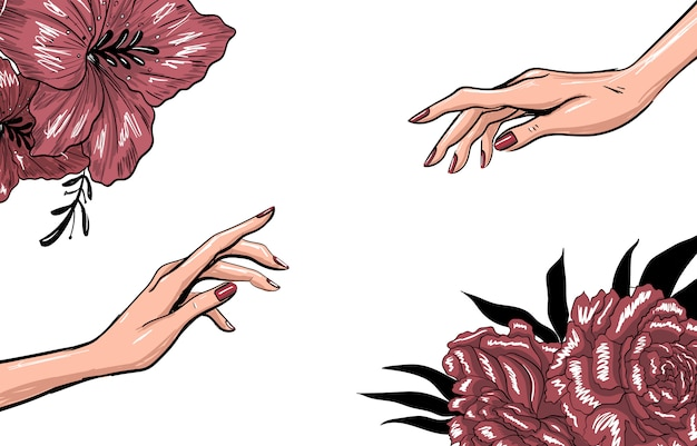 Modello di moda arte con mani e fiori