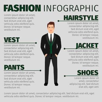 Modello di moda infografica con uomo in tuta