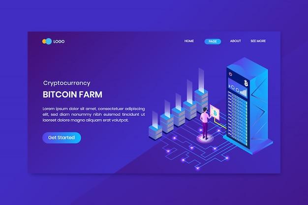 Modello di modello di pagina di destinazione di mining bitcoin
