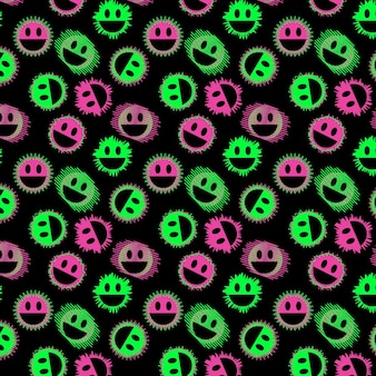 Modello di modello emoticon distorto al neon