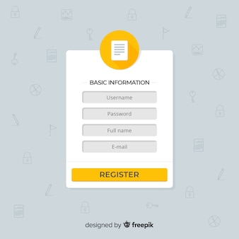 Modello di modulo di registrazione con design piatto