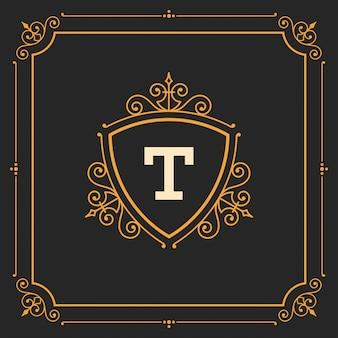 Modello di monogramma logo vintage, ornamenti dorati eleganti svolazzi con bordo cornice ornato