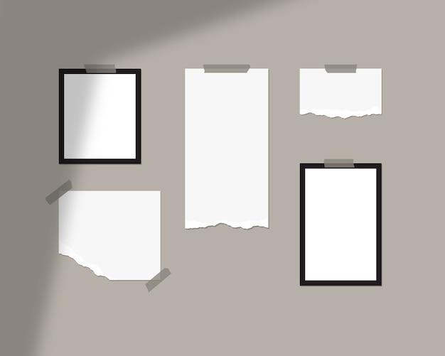 Modello di mood board. fogli vuoti di carta bianca sul muro con sovrapposizione di ombre. isolato.