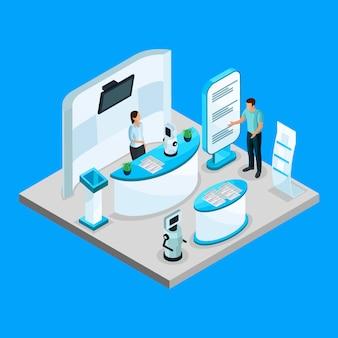 Modello di mostra di robotica isometrica con robot pubblicitari aziendali utilizzando supporti promozionali isolati