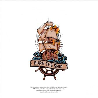 Modello di nave in fiamme