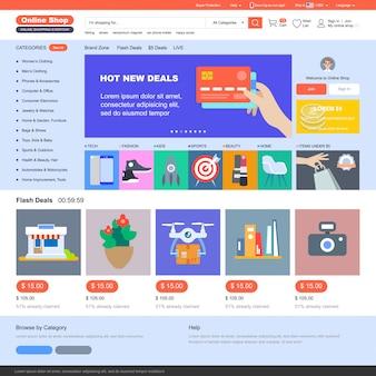 Modello di negozio online. acquisti online.
