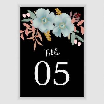 Modello di numero di tavolo floreale con decorazione floreale blu