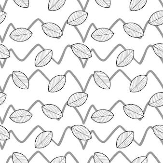 Modello di ombreggiatura del disegno della mano delle foglie di autunno
