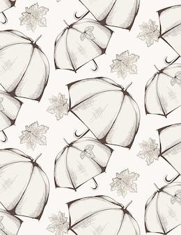 Modello di ombrello sfondo di stagione di autunno
