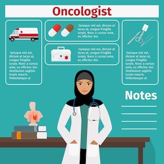 Modello di oncologo e attrezzatura medica