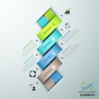 Modello di opzione infografica moderna con nastri colorati