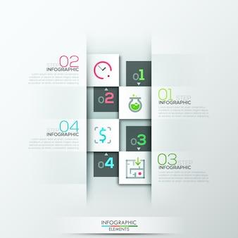 Modello di opzione infografica moderna con rettangoli di carta