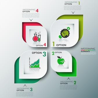 Modello di opzioni di infografica moderna eco con foglie di carta