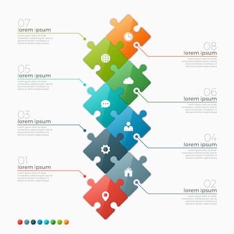 Modello di opzioni infografica con sezioni di puzzle