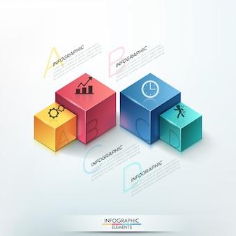 Modello di opzioni infografica moderna con 4 cubi
