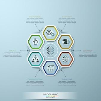 Modello di opzioni infografica moderna con 7 poligoni di carta