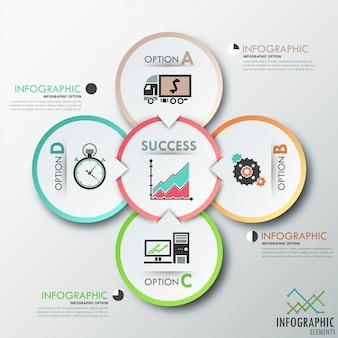 Modello di opzioni infografica moderna con cerchi