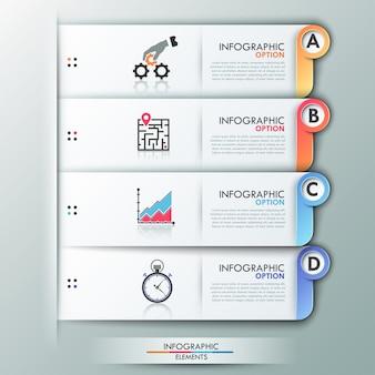 Modello di opzioni infografica moderna con fogli di carta