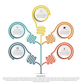 Modello di opzioni infografica per presentazioni aziendali
