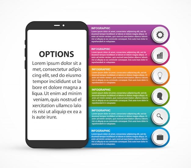 Modello di opzioni infografica per presentazioni aziendali.