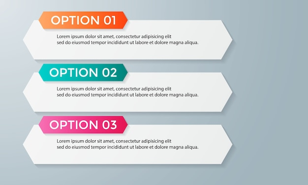 Modello di opzioni numero infografica astratta