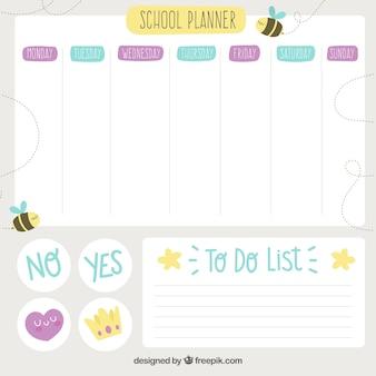 Modello di orario scolastico con design piatto
