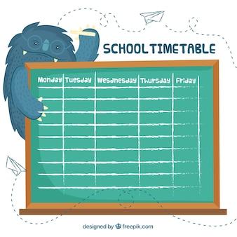 Modello di orario scolastico con lavagna e mostro
