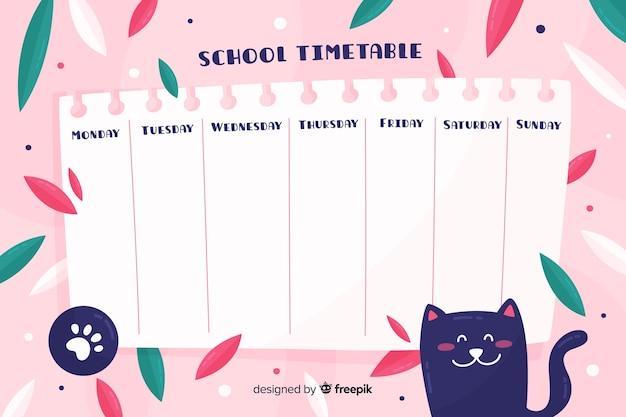Modello di orario scolastico in stile piatto