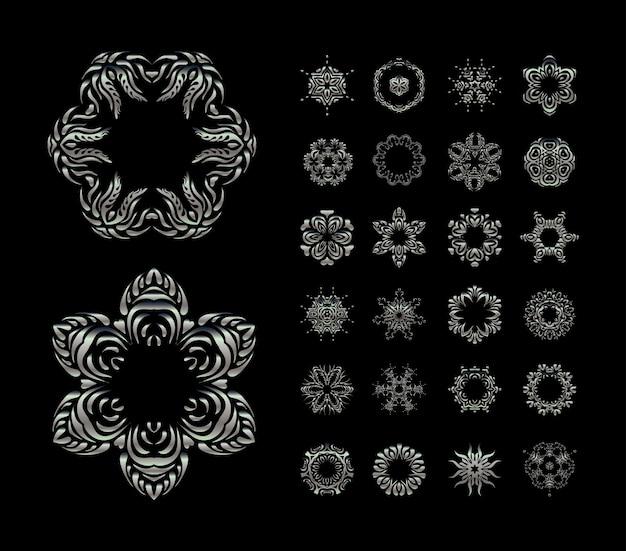 Modello di ornamenti d'argento rotondo mandala