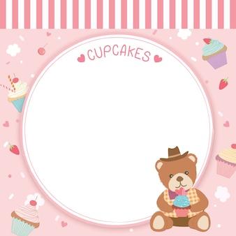 Modello di orso cupcake