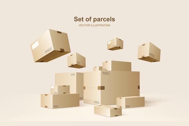 Modello di pacchetti. scatole di cartone per imballaggio e trasporto merci. illustrazione di concetto.