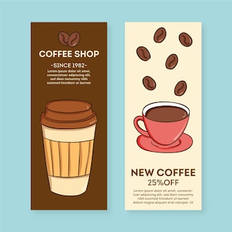 Modello di pacchetto banner caffetteria