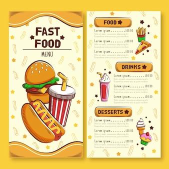 Modello di pacchetto banner ristorante fast food