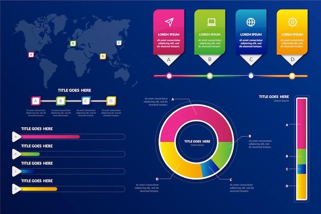 Modello di pacchetto di elementi di infografica