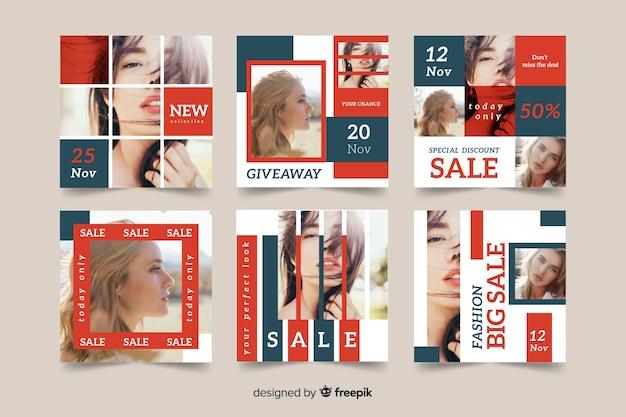 Modello di pacco postale instagram con foto