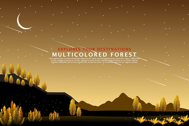 Modello di paesaggio foresta dorata