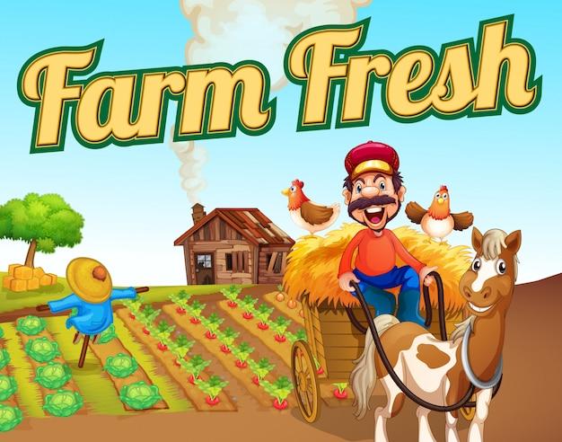 Modello di paesaggio fresco di fattoria