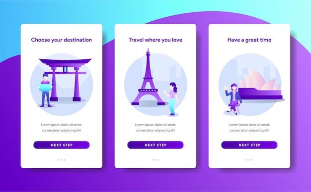 Modello di pagina app del design di destinazione del viaggio