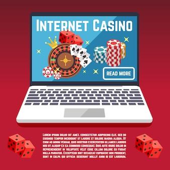 Modello di pagina del casinò internet con dadi, poker, carte