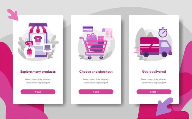 Modello di pagina dello schermo di onboarding dell'app di shopping online