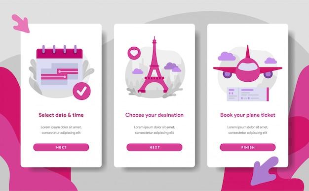 Modello di pagina dello schermo di onboarding della prenotazione online del biglietto aereo