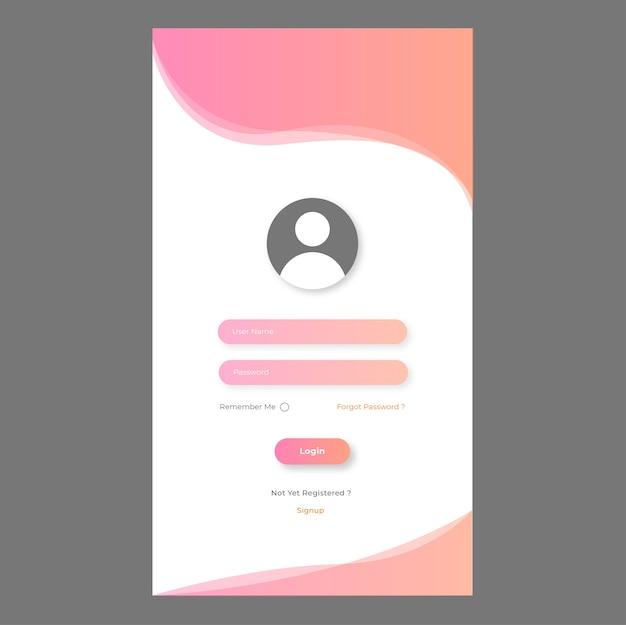 Modello di pagina di accesso mobile