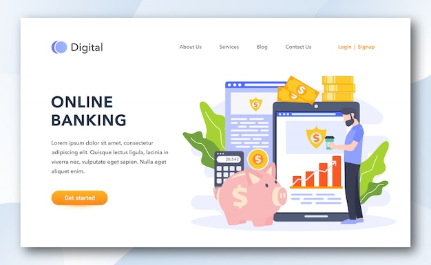 Modello di pagina di atterraggio bancario online